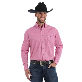 Wrangler Men's Wrangler Tough Enough To Wear Pink Button Down Shirt MTP261M