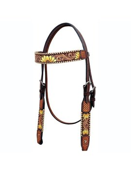 Rafter T Sunflower Tooled Browband Headstall BB3694
