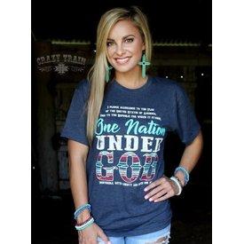 Crazy Train Women's One Nation Under God T-Shirt