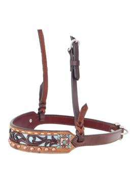 Rafter T Carved Leather Noseband Turquoise NB240