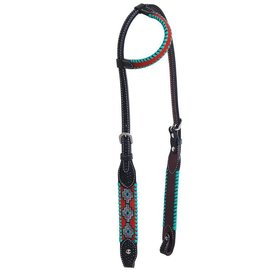 Rafter T Black Aztec Design Single Ear Headstall SE3692