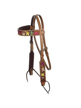 Rafter T Colorful Floral Tooled Browband Headstall BB3580