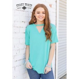Crazy Train Women's Turquoise Textline Blouse