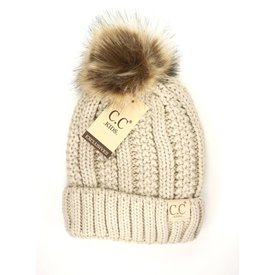 CC Beanie Kid's Fur Pom Hat