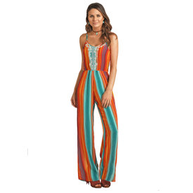 Rock and Roll Cowgirl Women's Serape Jumpsuit C4  Sz Large