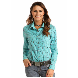Rock and Roll Cowgirl Women's Turquoise Steer Head Snap Shirt