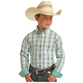 Panhandle Boy's Mint Button Down Shirt