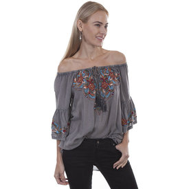 Scully Women's Grey Off the Shoulder  Blouse