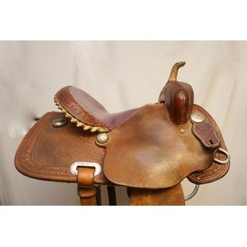 Purple Ostrich Seat Barrel Saddle