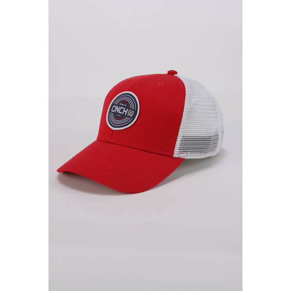 Cinch Men's Red and White Mesh Cap OSFA