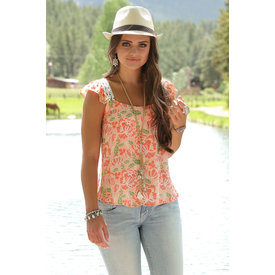 Cruel Girl Women's Pink Floral Blouse with Lace Shoulders C3