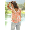 Women's Pink Floral Blouse with Lace Shoulders C3