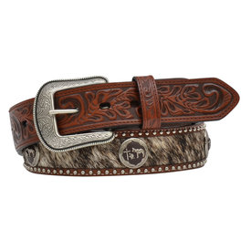 3D Belt Co Men's Cowhide with Praying Cowboy Concho Belt
