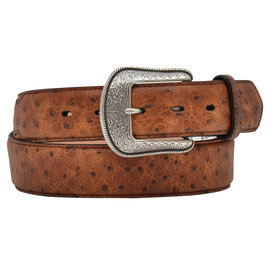 3D Belt Co Men's Ostrich Print Western Belt