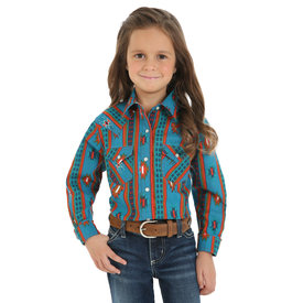 Wrangler Girl's Turquoise Southwest Long Sleeve