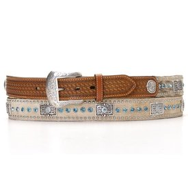 Nocona Belt Co. Men's Cowhide Western Belt with Blue Rhinestones