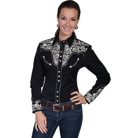 Scully Women's Black and Silver Embroidered Snap Shirt