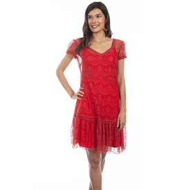 Scully Women's Red Sunset Lace Dress C4