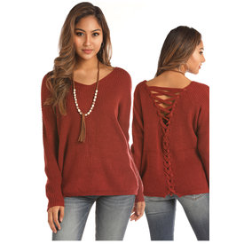 Rock and Roll Cowgirl Women's Rust Colored Lace Up Sweater