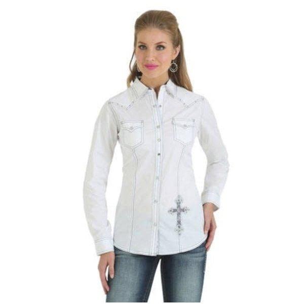 Wrangler Women's Rock 47 White Snap Long Sleeve Medium