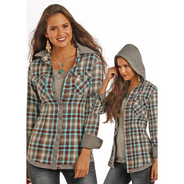 Rock and Roll Cowgirl Women's Rock & Roll Cowgirl Snap Front Shirt B4S9120 C3 LARGE