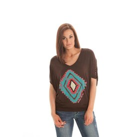 Cowgirl Tuff Women's Brown/Teal Aztec Shirt Medium