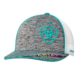 Ariat Heather Grey Turquoise Logo Kids Cap