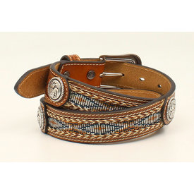 Ariat Boy's Stamped Leather and Ribbon Inlay Belt