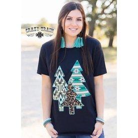 Crazy Train Women's 3 Trees of Christmas T-Shirt  Mediu
