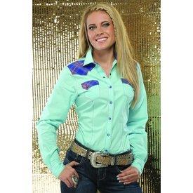 Cruel Girl Women's Light Turquoise Snap Long Sleeve Large