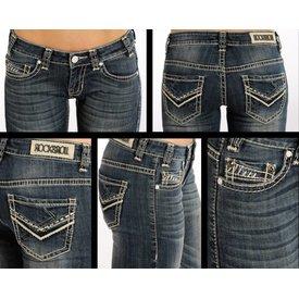 ROCK&ROLL DENIM Women's Rock & Roll Cowgirl Riding Fit Boot Cut Jeans W7-4506 C5 25X34