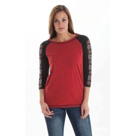 Cowgirl Tuff Women's Red Aztec T-Shirt Medium