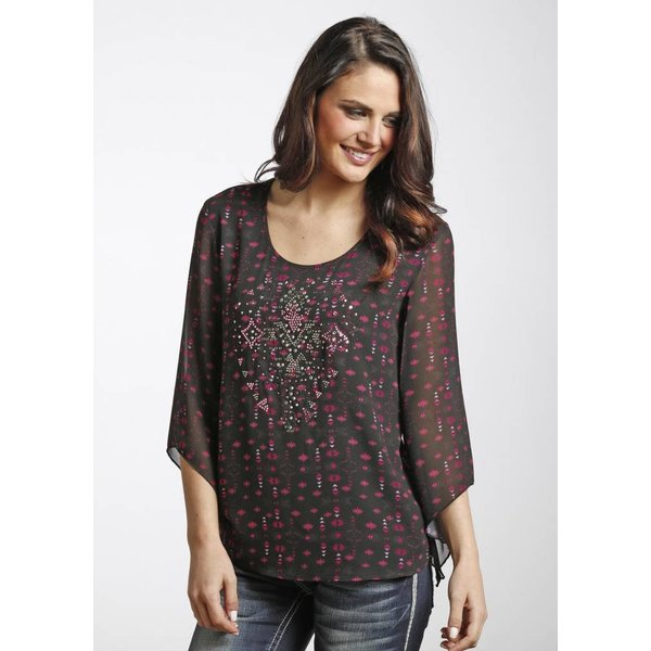 Rock and Roll Cowgirl Women's Rock & Roll Cowgirl Blouse B4-4472 C5 Medium