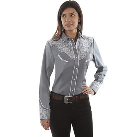 Scully Women's Grey and White Lace Snap Shirt