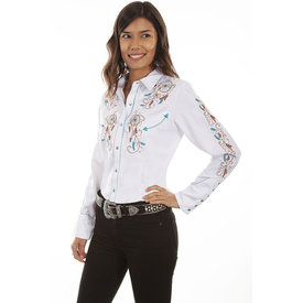Scully Women's White Dream Catcher Snap Shirt