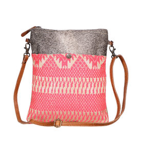 Myra-Bag Women's Pink Cowhide Crossbody Bag