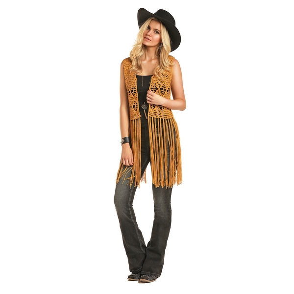 Rock and Roll Cowgirl Women's Mustard Crochet Vest