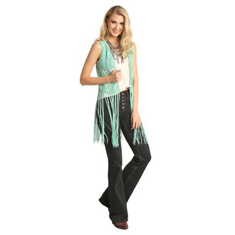 Women's Turquoise Crochet Vest