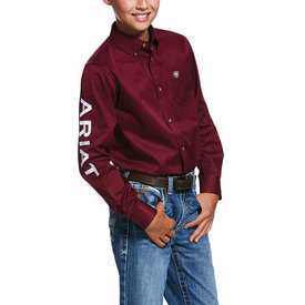 Ariat Boy's Burgundy Button Down Shirt