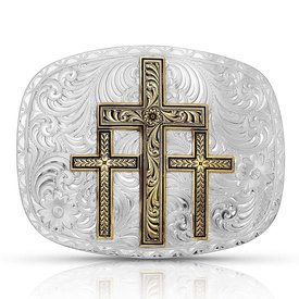 Montana Silversmiths Triple Cross Western Buckle