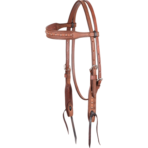 Rope Border Copper Dots Browband Headstall