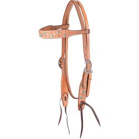 Martin Mixed Copper/Turq Dots Natural Browband Headstall