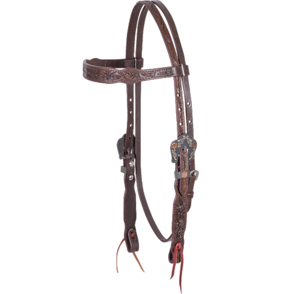Cashel Tooled Chocolate Browband Headstall