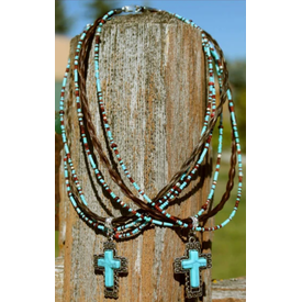 Cowboy Collectibles Turquoise Cross Horse Hair Necklace