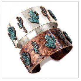 Wyo-Horse Cactus Patina Cuff Bracelet