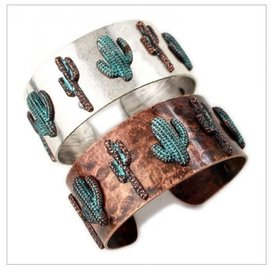 Wyo-Horse Silver Cactus Cuff Bracelet