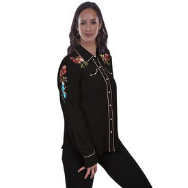 Scully Women's Longhorn/ Floral Embroided Long Sleeve