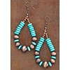 Copper And Turquoise Teardrop Earrings