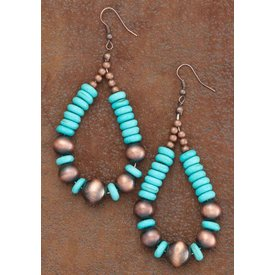 West & Co. Copper and Turquoise Teardrop Earrings
