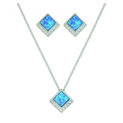 Turquoise  Opal Diamond Jewelry Set